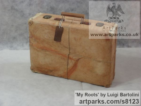 Arolla pine wood Farewell Goodbye Parting Au Revoir Adieu sculpture carvings statuettes figurines sculpture by sculptor Luigi Bartolini titled: 'My Roots (Wood Suitcase Valise Luggage sculptures)'