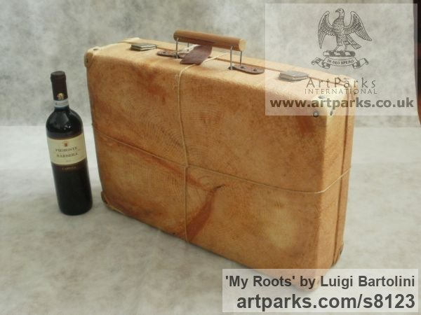 Arolla pine wood Farewell Goodbye Parting Au Revoir Adieu sculpture carvings statuettes figurines sculpture by sculptor Luigi Bartolini titled: 'My Roots (Wood Suitcase Valise Luggage sculptures)' - Artwork View 2