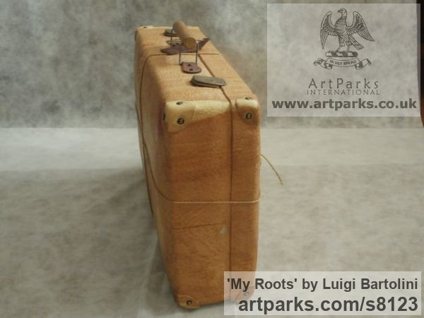 Arolla pine wood Farewell Goodbye Parting Au Revoir Adieu sculpture carvings statuettes figurines sculpture by sculptor Luigi Bartolini titled: 'My Roots (Wood Suitcase Valise Luggage sculptures)' - Artwork View 3