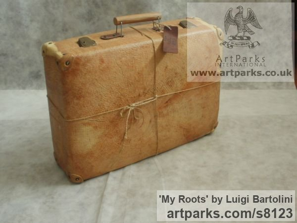 Arolla pine wood Farewell Goodbye Parting Au Revoir Adieu sculpture carvings statuettes figurines sculpture by sculptor Luigi Bartolini titled: 'My Roots (Wood Suitcase Valise Luggage sculptures)' - Artwork View 4