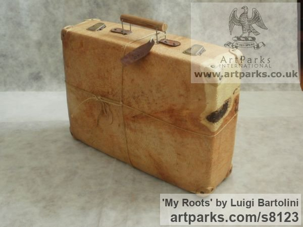 Arolla pine wood Farewell Goodbye Parting Au Revoir Adieu sculpture carvings statuettes figurines sculpture by sculptor Luigi Bartolini titled: 'My Roots (Wood Suitcase Valise Luggage sculptures)' - Artwork View 5