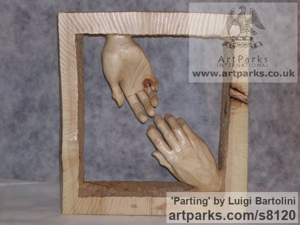 Arolla pine wood Farewell Goodbye Parting Au Revoir Adieu sculpture carvings statuettes figurines sculpture by sculptor Luigi Bartolini titled: 'Parting (Carved Wood Farewell Lovers Hands statue)'