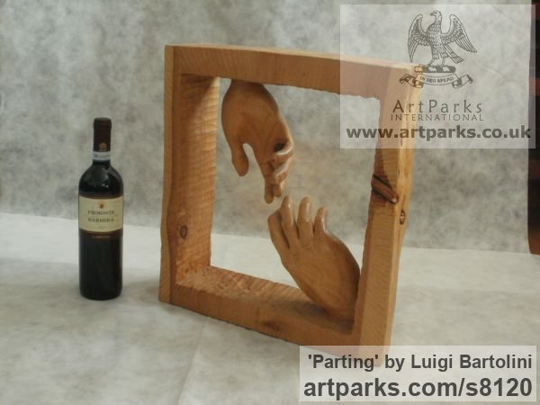 Arolla pine wood Farewell Goodbye Parting Au Revoir Adieu sculpture carvings statuettes figurines sculpture by sculptor Luigi Bartolini titled: 'Parting (Carved Wood Farewell Lovers Hands statue)' - Artwork View 2