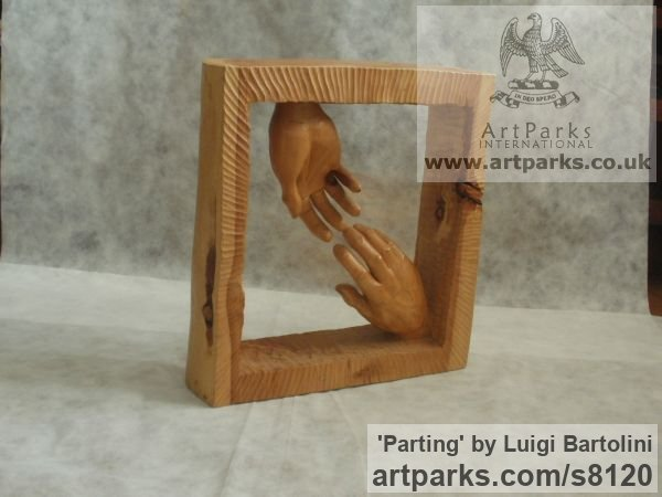 Arolla pine wood Farewell Goodbye Parting Au Revoir Adieu sculpture carvings statuettes figurines sculpture by sculptor Luigi Bartolini titled: 'Parting (Carved Wood Farewell Lovers Hands statue)' - Artwork View 3