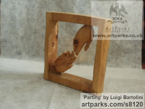 Arolla pine wood Farewell Goodbye Parting Au Revoir Adieu sculpture carvings statuettes figurines sculpture by sculptor Luigi Bartolini titled: 'Parting (Carved Wood Farewell Lovers Hands statue)' - Artwork View 4
