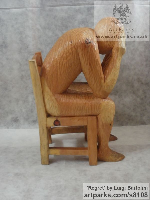 Arolla pine wood Sadness Anxiety Remorse Grief sculpture sculpture by sculptor Luigi Bartolini titled: 'Regret (Carved 3/4 life size Man Chair sculpture)' - Artwork View 4