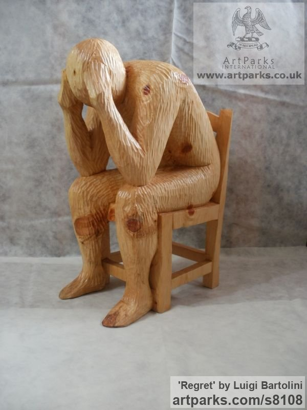 Arolla pine wood Sadness Anxiety Remorse Grief sculpture sculpture by sculptor Luigi Bartolini titled: 'Regret (Carved 3/4 life size Man Chair sculpture)'