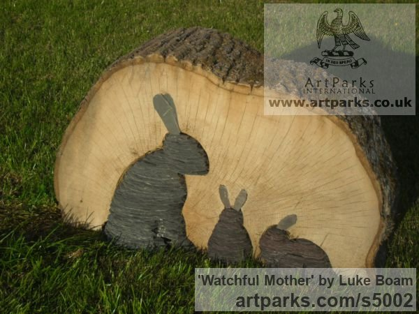 Beech wood and slate Garden Or Yard / Outside and Outdoor sculpture by sculptor Luke Boam titled: 'Watchful Mother'