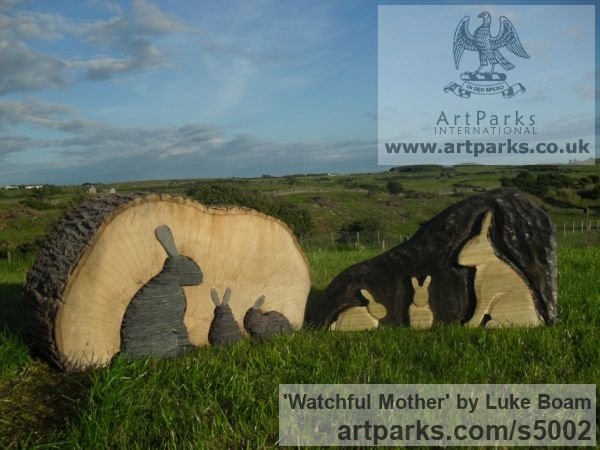 Beech wood and slate Garden Or Yard / Outside and Outdoor sculpture by sculptor Luke Boam titled: 'Watchful Mother' - Artwork View 2