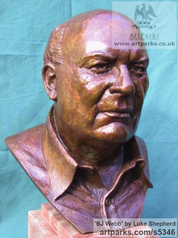 Bronze Portrait Sculptures / Commission or Bespoke or Customised sculpture by sculptor Luke Shepherd titled: 'BJ Webb (Life Like bronze Portrait Bust Commission Custom sculptures)'