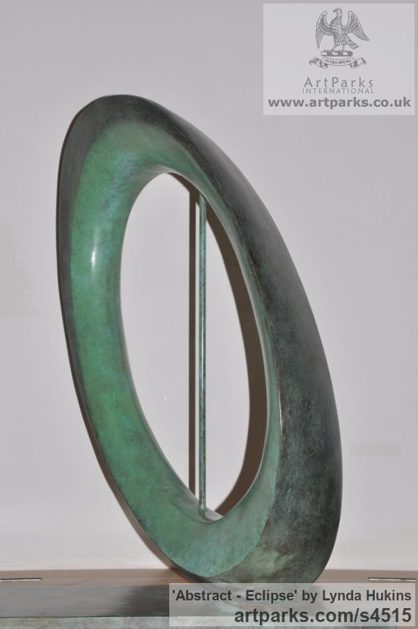 Bronze Abstract Contemporary Modern Outdoor Outside Garden / Yard sculpture statuary sculpture by sculptor Lynda Hukins titled: 'abstract - Eclipse (Bronze Circular abstract Modern statue/sculpture)' - Artwork View 5