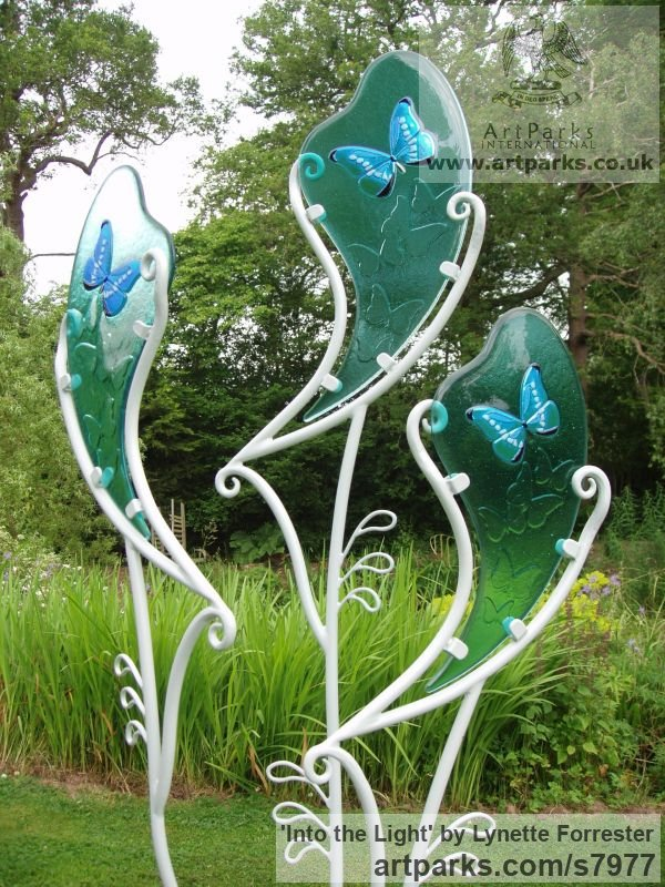 Glass & powder coated steel Garden Or Yard / Outside and Outdoor sculpture by sculptor Lynette Forrester titled: 'Into the Light (Glass Butterfly Art garden Decoration sculpturette)'