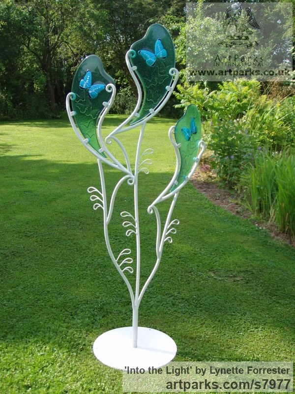 Glass & powder coated steel Garden Or Yard / Outside and Outdoor sculpture by sculptor Lynette Forrester titled: 'Into the Light (Glass Butterfly Art garden Decoration sculpturette)' - Artwork View 2