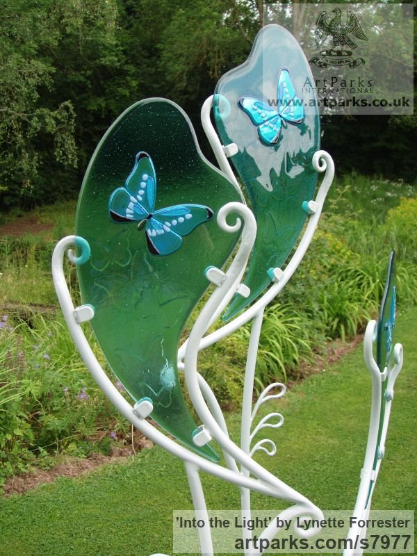 Glass & powder coated steel Garden Or Yard / Outside and Outdoor sculpture by sculptor Lynette Forrester titled: 'Into the Light (Glass Butterfly Art garden Decoration sculpturette)' - Artwork View 3