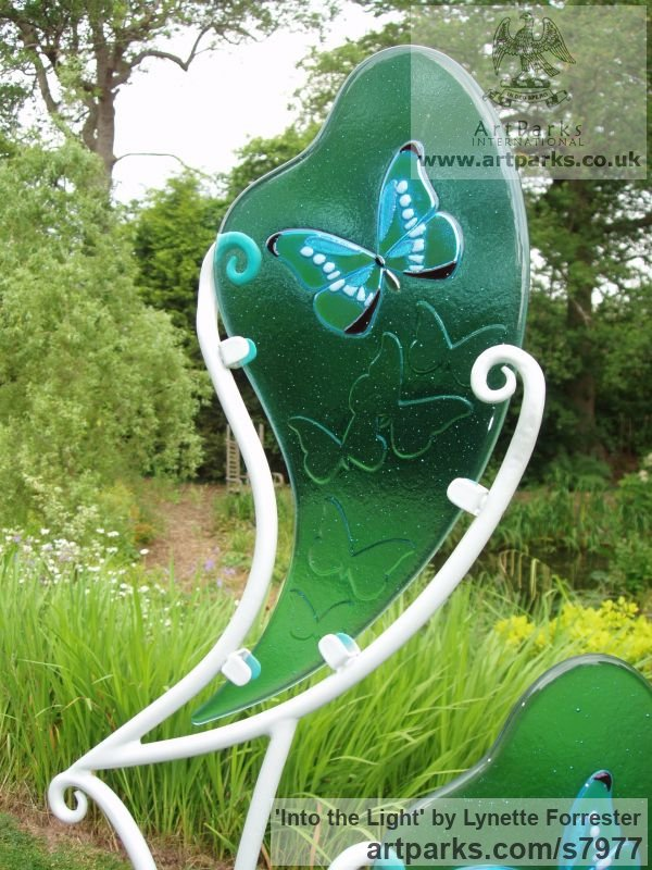 Glass & powder coated steel Garden Or Yard / Outside and Outdoor sculpture by sculptor Lynette Forrester titled: 'Into the Light (Glass Butterfly Art garden Decoration sculpturette)' - Artwork View 4