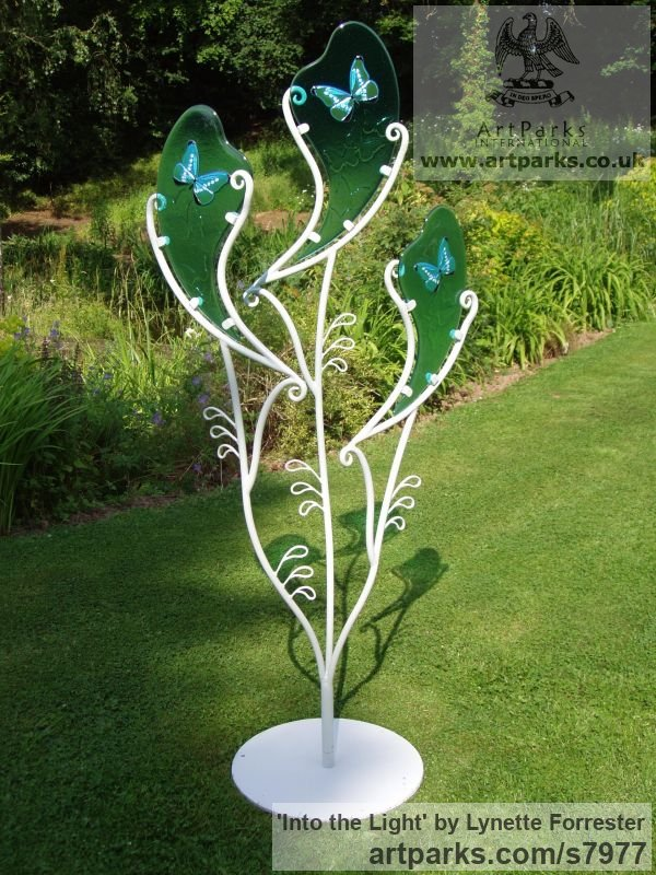 Glass & powder coated steel Garden Or Yard / Outside and Outdoor sculpture by sculptor Lynette Forrester titled: 'Into the Light (Glass Butterfly Art garden Decoration sculpturette)' - Artwork View 5