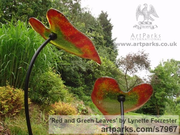 Glass & Steel Garden Or Yard / Outside and Outdoor sculpture by sculptor Lynette Forrester titled: 'Red and Green Leaves (kiln-formed art glass sculpture)'