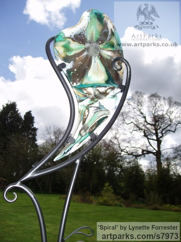Glass, steel & stone Abstract Contemporary or Modern Outdoor Outside Exterior Garden / Yard sculpture statuary sculpture by sculptor Lynette Forrester titled: 'Spiral (Cast Glass abstract Contemporary garden statue Art sculpture)' - Artwork View 2