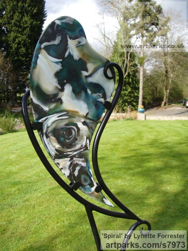 Glass, steel & stone Abstract Contemporary or Modern Outdoor Outside Exterior Garden / Yard sculpture statuary sculpture by sculptor Lynette Forrester titled: 'Spiral (Cast Glass abstract Contemporary garden statue Art sculpture)' - Artwork View 3