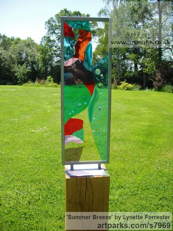 Glass, steel & oak. Abstract Contemporary Modern Outdoor Outside Garden / Yard sculpture statuary sculpture by sculptor Lynette Forrester titled: 'Summer Breeze (framed fused and laminated glass panel)'