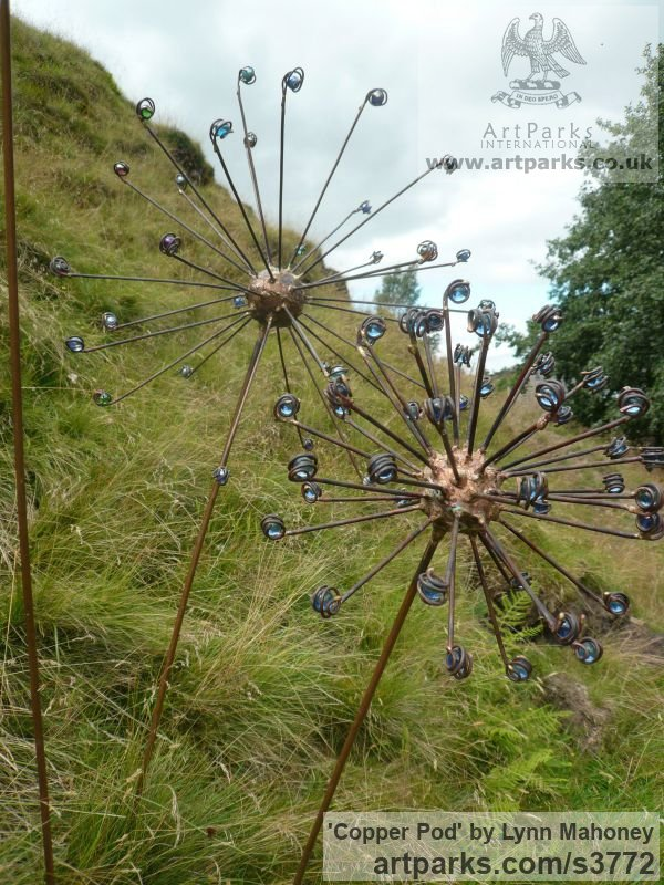 Copper steel rods clad in copper, glass Garden Or Yard / Outside and Outdoor sculpture by sculptor Lynn Mahoney titled: 'Copper Pod (Large Big Flower/fFloral Seed Head garden sculptures)'