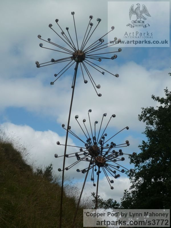 Copper steel rods clad in copper, glass Garden Or Yard / Outside and Outdoor sculpture by sculptor Lynn Mahoney titled: 'Copper Pod (Large Big Flower/fFloral Seed Head garden sculptures)' - Artwork View 2