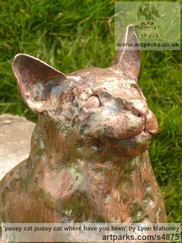 L copper Garden Or Yard / Outside and Outdoor sculpture by sculptor Lynn Mahoney titled: 'pussy cat pussy cat where have you been' - Artwork View 3