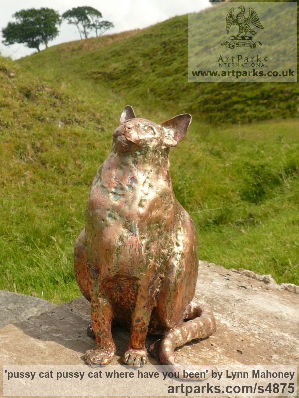 L copper Garden Or Yard / Outside and Outdoor sculpture by sculptor Lynn Mahoney titled: 'pussy cat pussy cat where have you been' - Artwork View 4