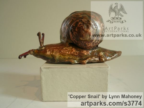 Copper Garden Or Yard / Outside and Outdoor sculpture by artist Lynn Mahoney titled: 'Copper Snail (Large Outsize garden/Yard/outdoor statuettes/statues)'