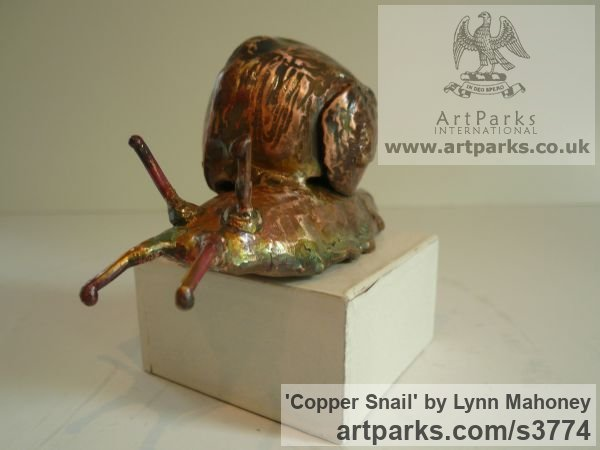 Copper Garden Or Yard / Outside and Outdoor sculpture by artist Lynn Mahoney titled: 'Copper Snail (Large Outsize garden/Yard/outdoor statuettes/statues)' - Artwork View 2