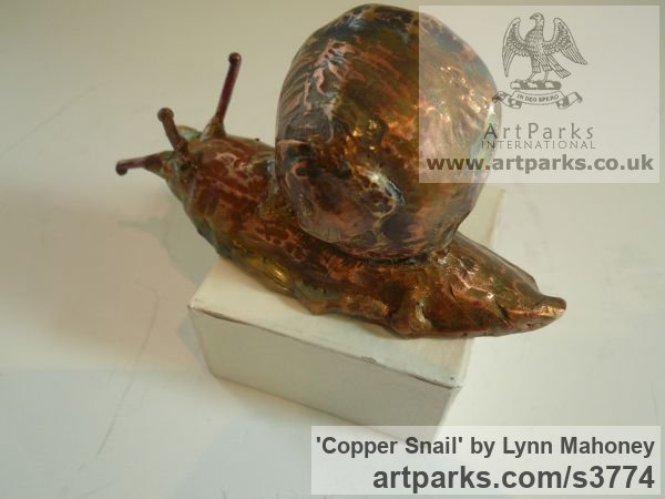 Copper Garden Or Yard / Outside and Outdoor sculpture by sculptor Lynn Mahoney titled: 'Copper Snail (Large Outsize garden/Yard/outdoor statuettes/statues)' - Artwork View 3