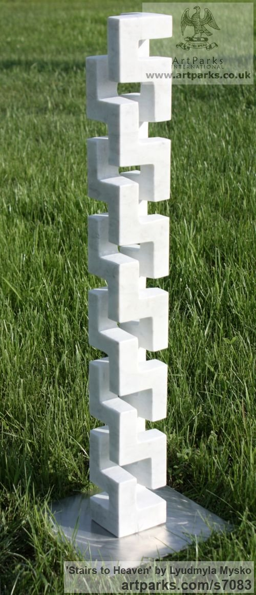Marble Abstract Contemporary Modern Outdoor Outside Garden / Yard sculpture statuary sculpture by sculptor Lyudmyla Mysko titled: 'Stairs to Heaven (Carved marble abstract Vertical Carving statuette)'