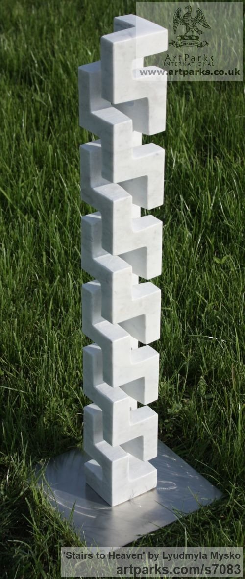 Marble Abstract Contemporary Modern Outdoor Outside Garden / Yard sculpture statuary sculpture by sculptor Lyudmyla Mysko titled: 'Stairs to Heaven (Carved marble abstract Vertical Carving statuette)' - Artwork View 2