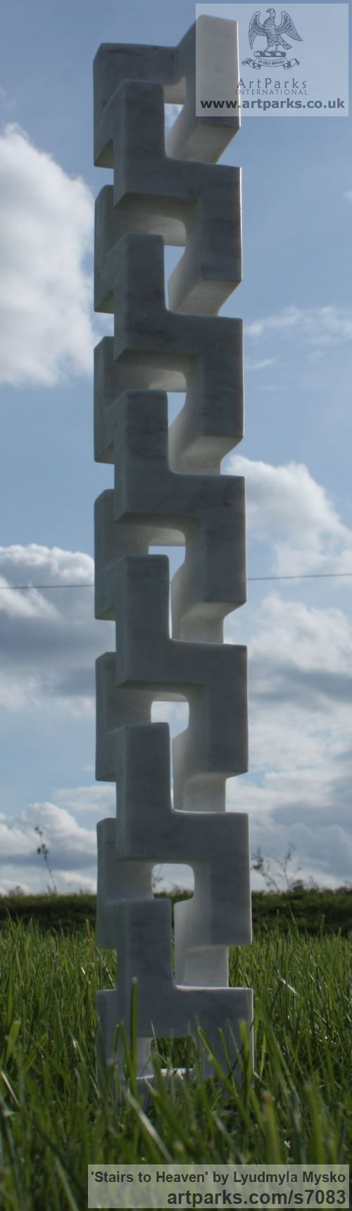 Marble Abstract Contemporary Modern Outdoor Outside Garden / Yard sculpture statuary sculpture by sculptor Lyudmyla Mysko titled: 'Stairs to Heaven (Carved marble abstract Vertical Carving statuette)' - Artwork View 4