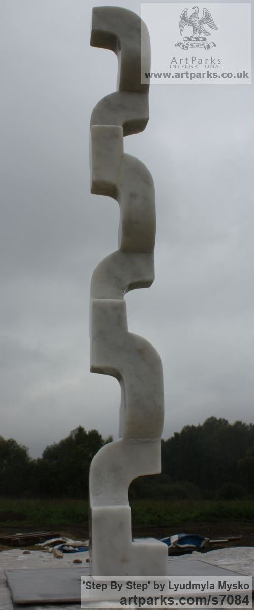 Marble Abstract Contemporary or Modern Outdoor Outside Exterior Garden / Yard sculpture statuary sculpture by sculptor Lyudmyla Mysko titled: 'Step by step (Carved marble Repetitive Shape Vertical abstract statuette)' - Artwork View 3