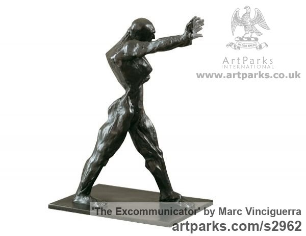 Bronze Male Men Youths Masculine sculpturettes figurines sculpture by sculptor Marc Vinciguerra titled: 'The Excommunicator (Small Bronze Semi abstract Strong Man statues)' - Artwork View 2