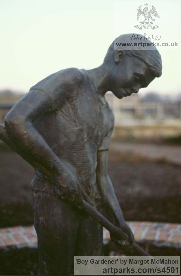Bronze Garden Or Yard / Outside and Outdoor sculpture by sculptor Margot McMahon titled: 'Boy gardener (bronze life size Outdoors garden/Yard sculptures/statue)' - Artwork View 1