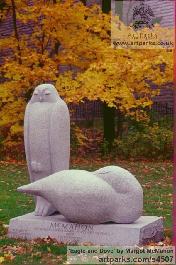 Granite Garden Or Yard / Outside and Outdoor sculpture by sculptor Margot McMahon titled: 'Eagle and Dove (Big Carved stone Lifesize garden sculpture)'