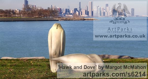 Resin Varietal Mix of Bird Sculptures or sculpture by sculptor Margot McMahon titled: 'Hawk and Dove (Granite Big Hawk and Dove Peace sculptures/statues)' - Artwork View 2