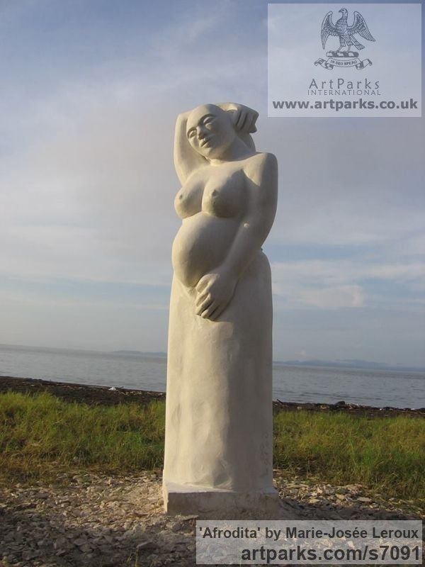 Limestone Females Women Girls Ladies sculpture statuettes figurines sculpture by sculptor Marie-Jos�e Leroux titled: 'Afrodita (Full Bodied Big Stylised nude Woman Goddess Carving statue)' - Artwork View 3