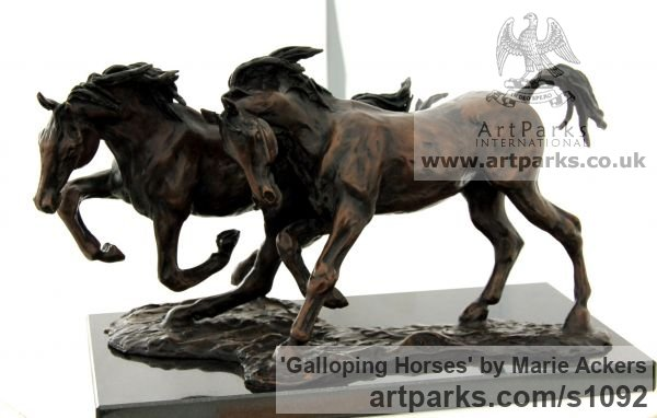 Bronze Horse Sculpture / Equines Race Horses Pack HorseCart Horses Plough Horsess sculpture by sculptor Marie Ackers titled: 'Galloping Horses (Solid Little bronze sculptures/statues/statuette)' - Artwork View 2