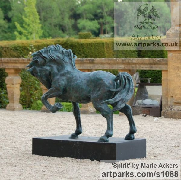 Cold Cast resin Bronze ( also available in bronze) Horse Sculpture / Equines Race Horses Pack HorseCart Horses Plough Horsess sculpture by sculptor Marie Ackers titled: 'Spirit (Little Bronze Stallion Pacing and Pawing, statuette/statue)' - Artwork View 3