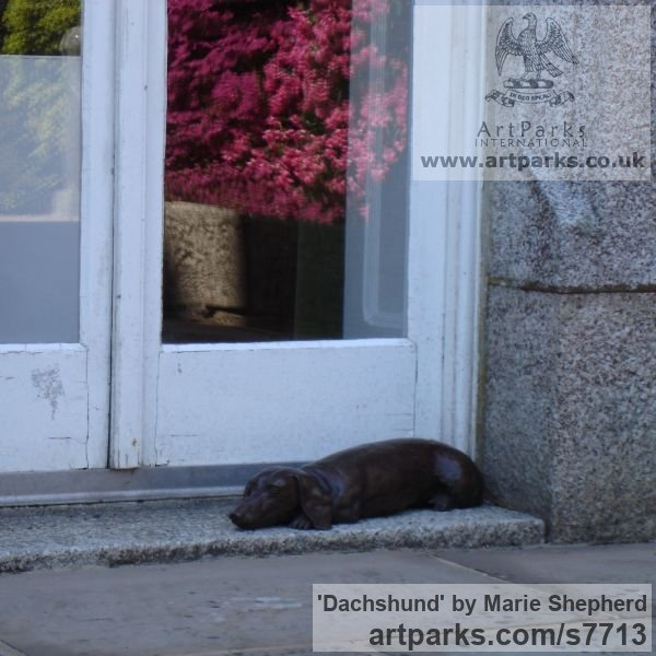 Bronze resin Garden Or Yard / Outside and Outdoor sculpture by sculptor Marie Shepherd titled: 'Dachshund (Bronze resin Sleeping Dozing Resting Lying Dog sculpture)' - Artwork View 2