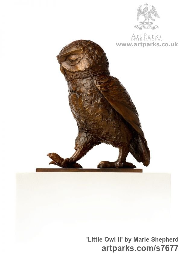 Bronze Garden Or Yard / Outside and Outdoor sculpture by sculptor Marie Shepherd titled: 'Little Owl II (life size Walking sculpture)'