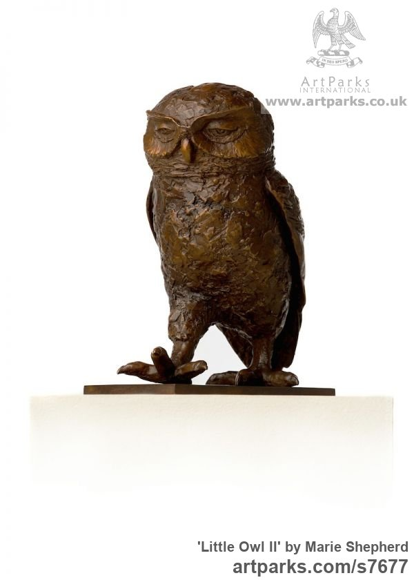 Bronze Garden Or Yard / Outside and Outdoor sculpture by sculptor Marie Shepherd titled: 'Little Owl II (life size Walking sculpture)' - Artwork View 2