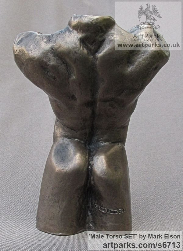 Cold Cast Bronze Tabletop Desktop Small Indoor Statuettes Figurines sculpture by sculptor Mark Elson titled: 'Male Torso SET (Small/Little/MiniatureMale nude Torso statue Figures)' - Artwork View 5