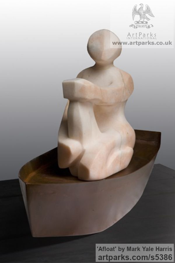 Alabaster & Steel Marine Maritime Water Sea sculpture statuette sculpture by sculptor Mark Yale Harris titled: 'Afloat (Sitting Modern abstract Carved Figurine)' - Artwork View 1
