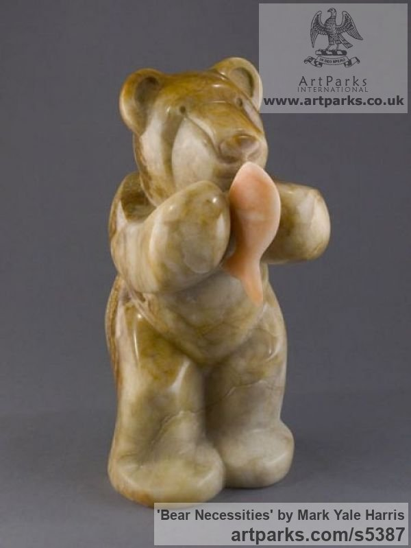 Utah Alabaster Animal Abstract Contemporary Modern Stylised Minimalist sculpture by sculptor Mark Yale Harris titled: 'Bear Necessities (Minimalist Carved Eating statue)' - Artwork View 2
