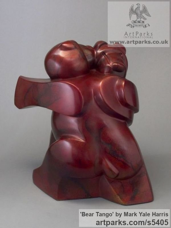 Bronze Abstract Dance / Dancer sculpture by sculptor Mark Yale Harris titled: 'Bear Tango (Small Modern Dancing Teddies Satuette)' - Artwork View 2