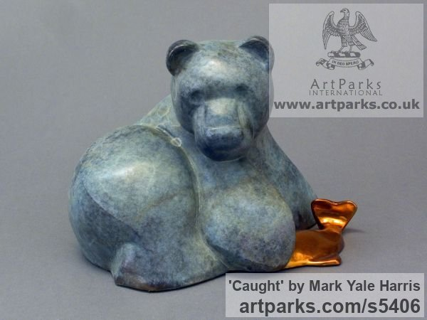 Bronze Animal Abstract Contemporary Modern Stylised Minimalist sculpture by sculptor Mark Yale Harris titled: 'Caught (Bronze Contemporary Brown Bear sculpture)'